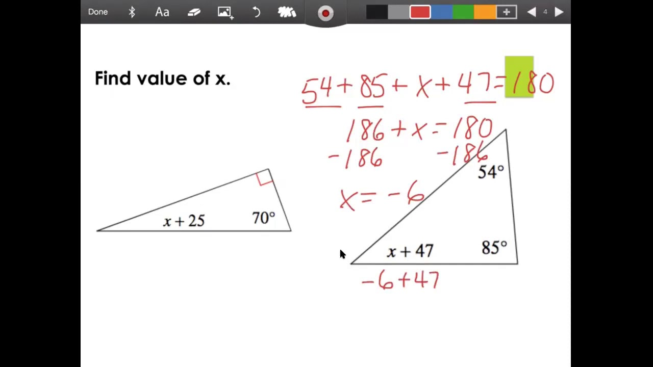 Interior Angles of a Triangle (Part 2) - YouTube