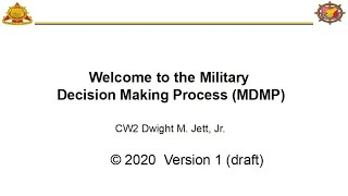 Military Decision Making Process MDMP 1 0 2020
