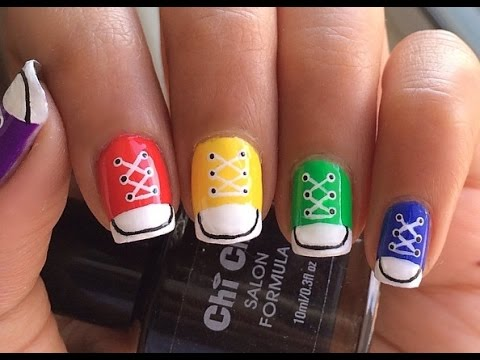 Converse shoe nail art youtube converse shoe nail art prinsesfo Choice Image