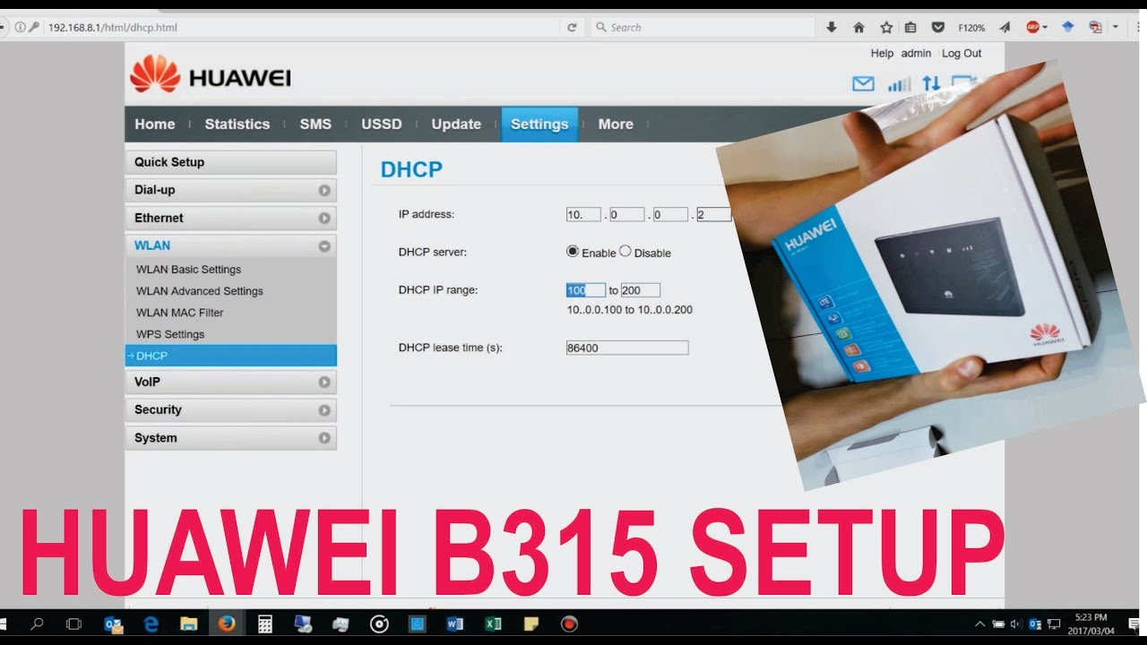 Unboxing and setup of a Huawei B315 router