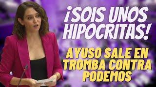 """AYUSO REVIENTA a PODEMOS   «¡HIPÓCRITAS! TENÉIS MÁS PROPIEDADES QUE EL """"PORTAL IDEALISTA"""" JUNTO»"""