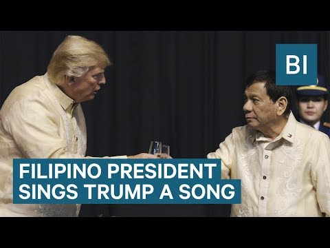 Watch controversial Philippines President Rodrigo Duterte sing a love song to Trump