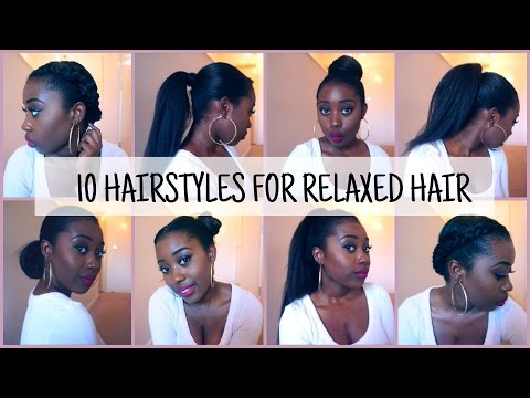 10 Easy And Quick Hairstyles For Relaxed Texlaxed Hair Youtube