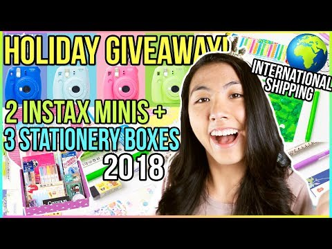 🛍HUGE International Holiday Giveaway 2017! | Instax Mini 9 Camera + Stationery🎄 Katie Tracy
