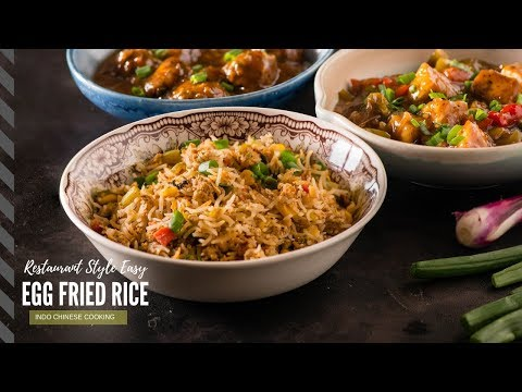 Schezwan Egg Fried Rice Recipe - Easy Indo Chinese Recipes - Dinner In 20 Minutes