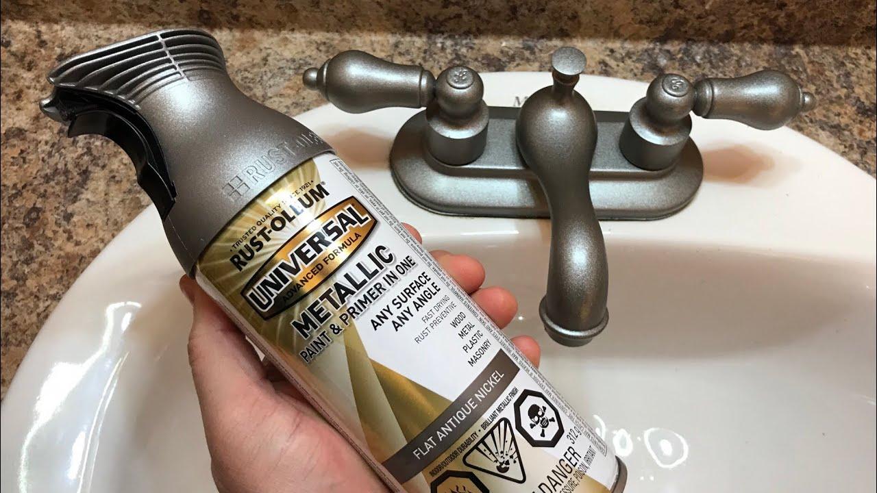 spray painting a bathroom faucet