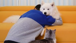 Hugging my dog and cat for too long [AMAZING REACTION]