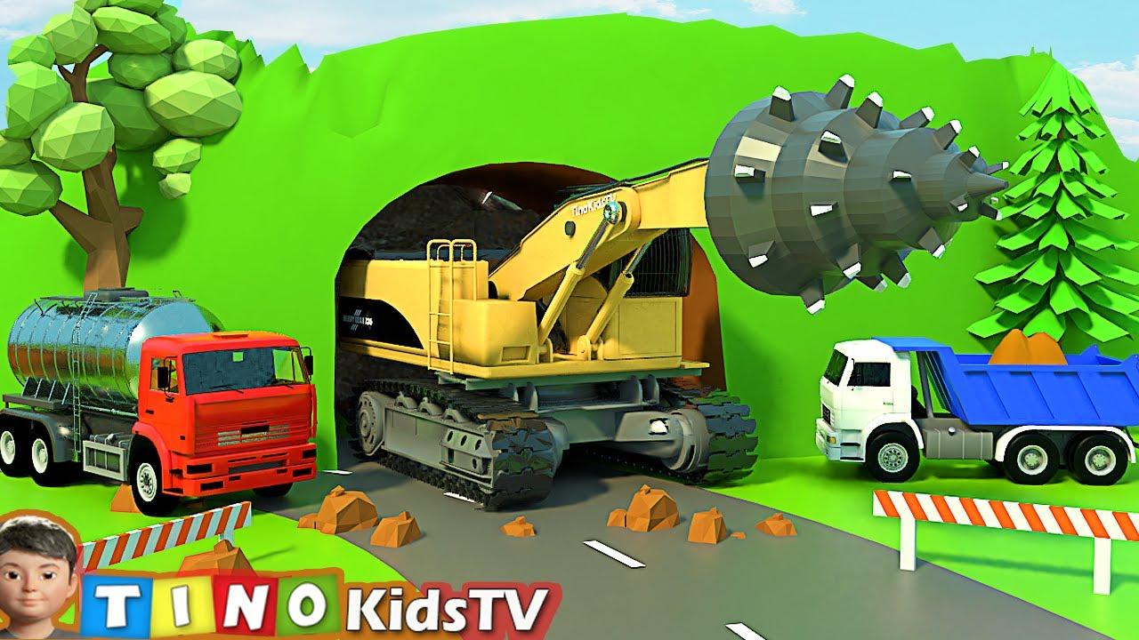 Roadheader & Construction Trucks for Kids   Mountain Tunnel Construction for Children
