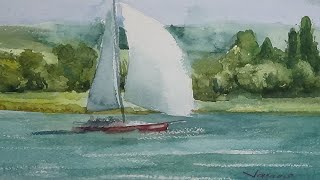 Regatta on Lake Balaton Watercolor Painting - By Vamos