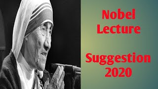 Nobel Lecture    Suggestion 2020