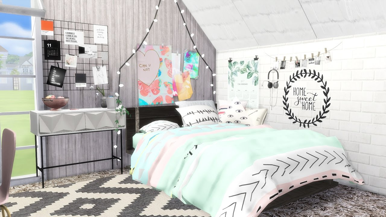 Sporty Teenage Girl Bedroom Ideas sims 4 || speed build: let's decorate - teen girl's bedroom - youtube