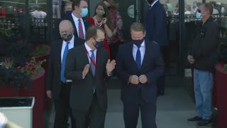 Lieutenant Governor of Ohio Jon Husted arrives at Burke Lakefront Airport to meet President Trump
