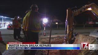 Water main break closes major thoroughfare in Cary
