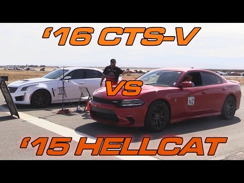 '16 CTS-V vs '15 Charger Hellcat - 1/2 Mile Drag Race!