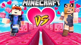 SZALONY WYŚCIG! - WALENTYNKOWE LUCKY BLOCKI MINECRAFT (Pink Lucky Block Race) | Vito vs Bella