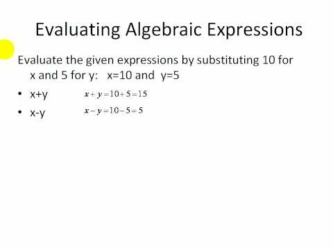 Pre-Algebra Practice Online:  Evaluating Algebraic Expressions