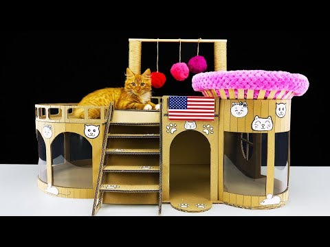 How to Make Amazing Kitten Cat House from Cardboard at Home