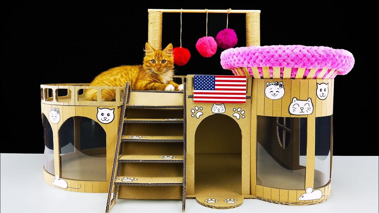 How to make amazing kitten cat house from cardboard at for How to make a cat toy out of a box