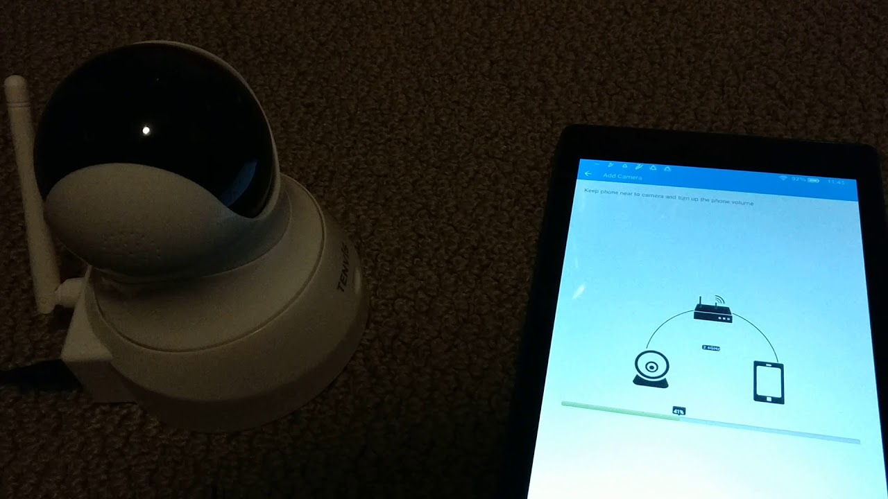 TENVIS 720P HD IP Camera  When setting up wirelessly, turn ON volume for  your phone/tablet