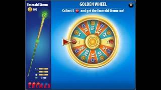 Pool Live Tour Golden Wheel of Fortune Cue Emerald Storm