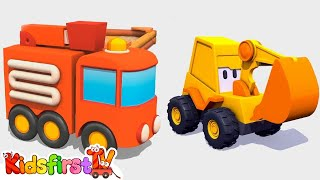 3d Kid's Cartoons: FIRE TRUCK Hide and Seek! Excavator Max - Surprise Egg Construction Machines