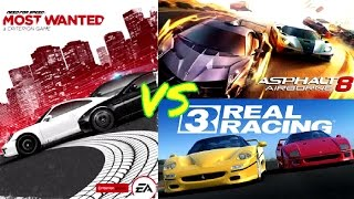 Asphalt 8 Airborne vs Need For Speed Most Wanted 2012 vs Real Racing 3 - GAME VS GAME!