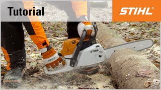 Video Tutorial On Chain Saws 8 - Cutting A Trunk On The Ground