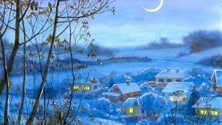 Картинка нарисованная. Снег долина зима ночь деревья рисунок акварель деревня месяц