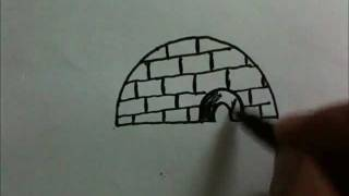 How to draw Cartoon Eskimo Ice house