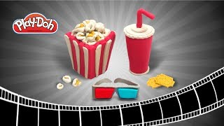 Play Doh Movie Theater Set. DIY Play Doh Popcorn, Cola, 3D Glass. Easy DIY for Kid Educational Video