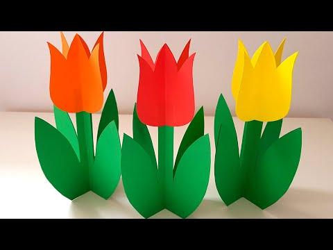 Подарок маме на 8 Марта ТЮЛЬПАНЫ Цветы из бумаги своими руками Easy paper Tulip Flower Поделки Весна