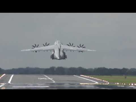 Airbus A400M bouncing backwards after extreme short landing