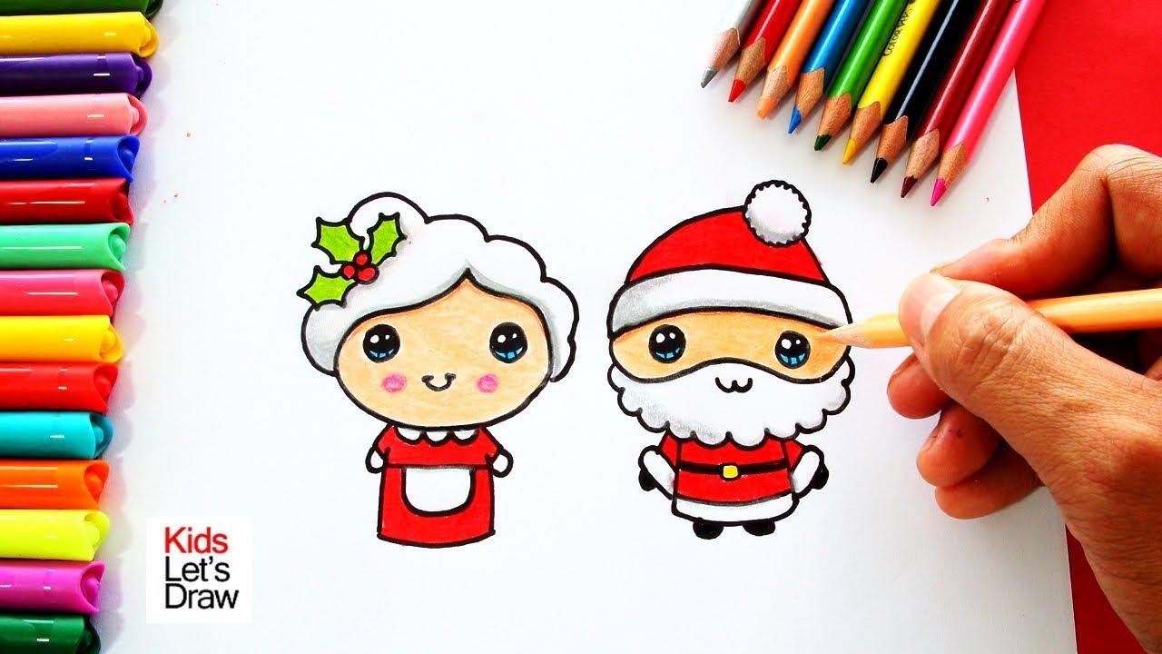 Como Dibujar A Mama Noela Y Papa Noel De Navidad Juntos Y De Forma