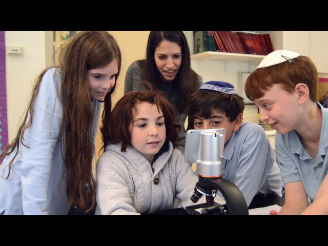 Microscopes at Schechter Manhattan's Lieberman Family STEAM Center