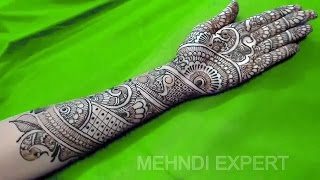 traditional bridal cool henna or mehndi design for hand step by step tutorial