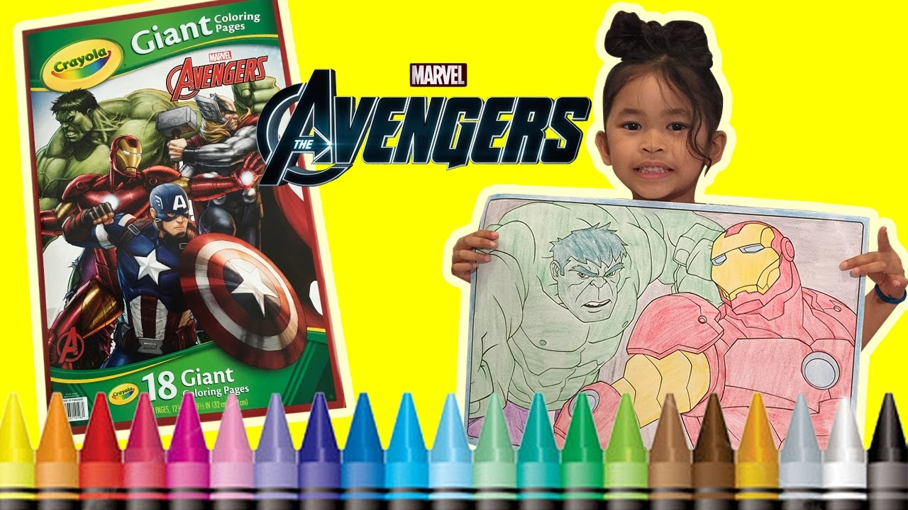 Coloring Hulk and Iron Man Avengers GIANT Coloring Book Page Crayola ...