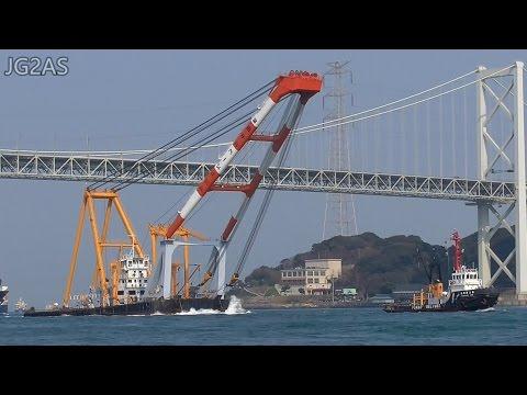 起重機船 伊豆 IZU Crane barge 深田サルベージ建設 関門海峡 2017-MAR