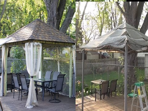 How to replace Canopy on Pyramid Roof gazebo to Roof Shingles.. Step by step