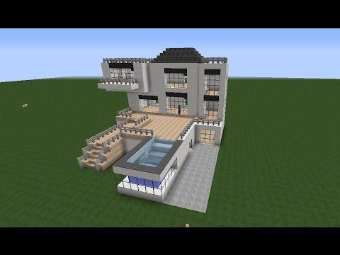 Minecraft modern house casa moderna con piscina ita for Casas modernas minecraft 0 9 5
