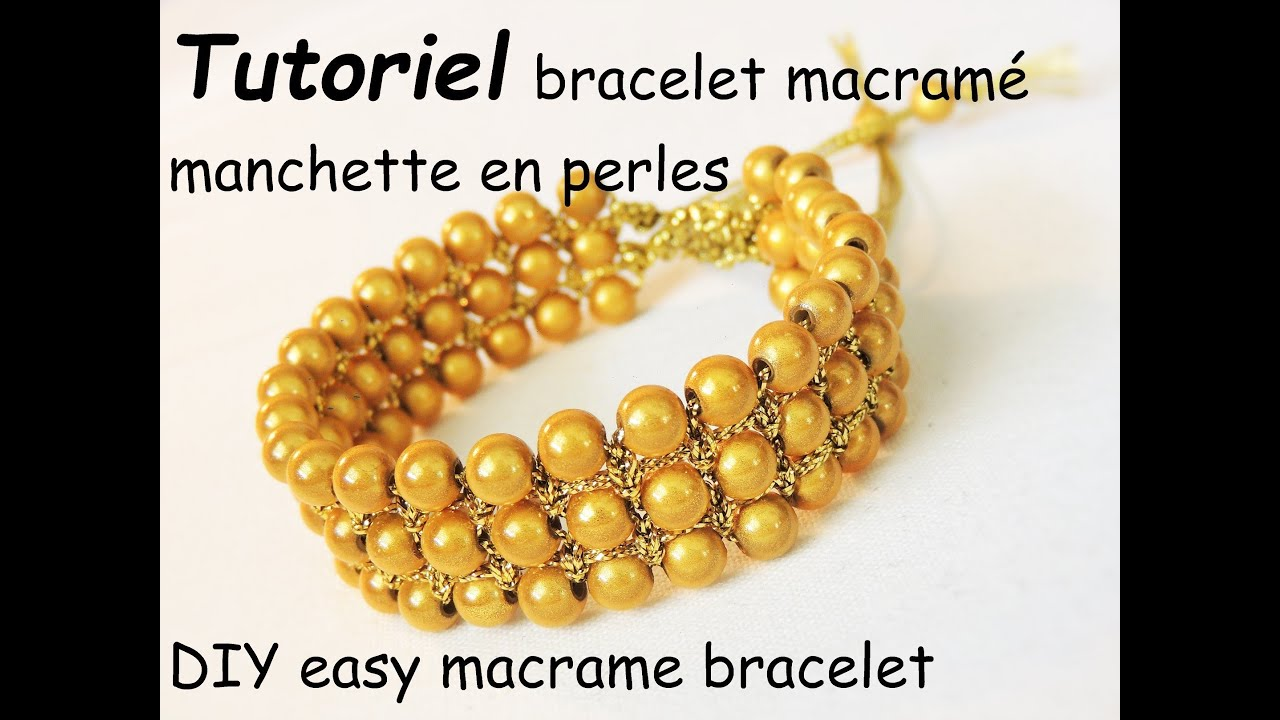 comment faire un bracelet macram manchette en perles diy easy macrame bracelet with beads. Black Bedroom Furniture Sets. Home Design Ideas