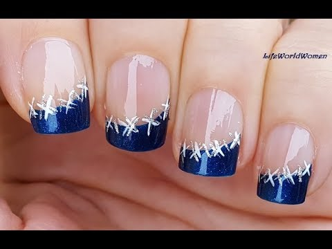 WINTER SIDE FRENCH MANICURE IN SPARKLE BLUE