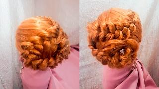прически на длинные и средние волосы прическа цветок ажурный змейка на бок быстрая легкая hairstyles