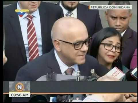 Jorge Rodríguez en la mesa de diálogo este 30 de enero 2018, República Dominicana