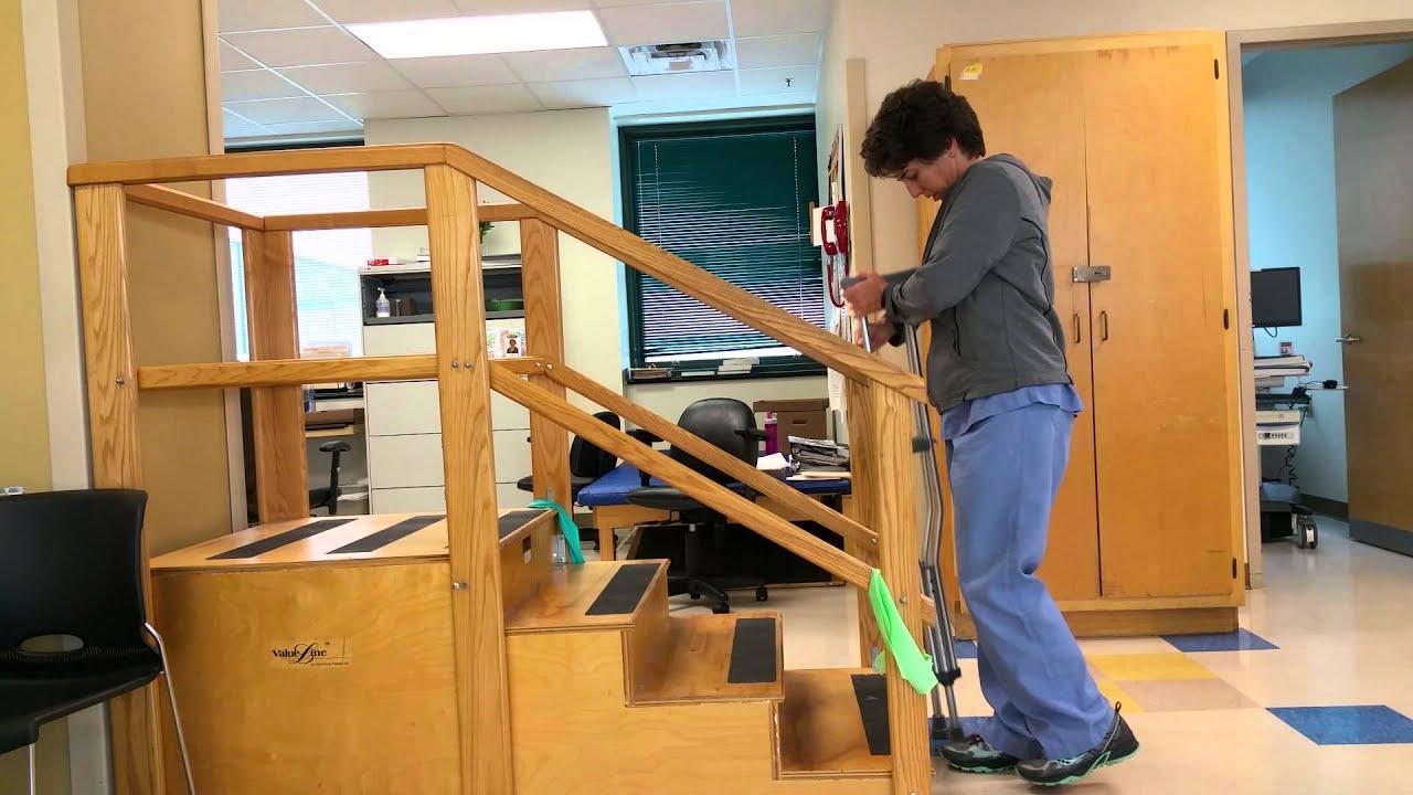 Single Crutch Stair Training Youtube