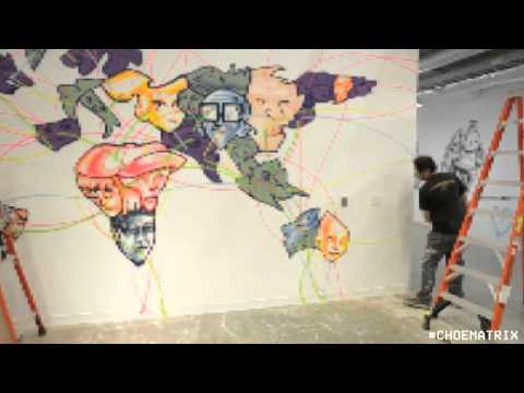 David Choe painting the world map at Facebook Headquarters, 2012 #CHOEMATRIX