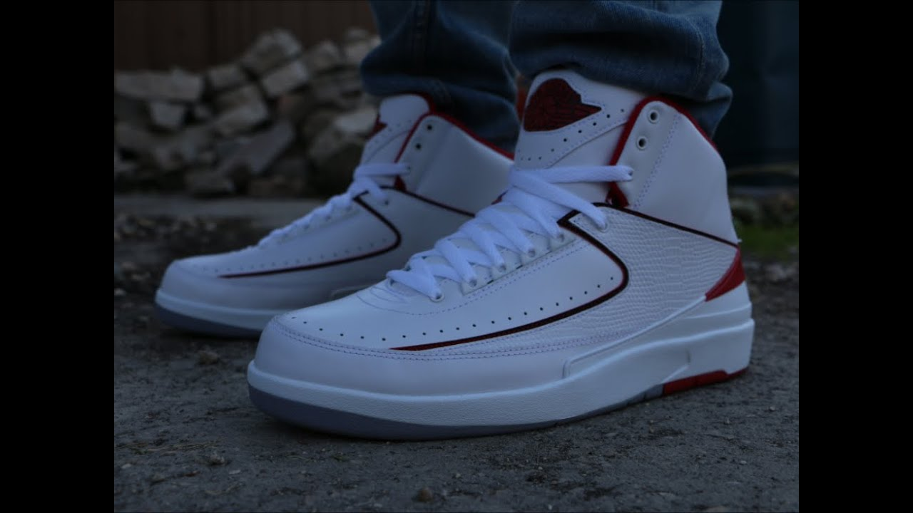 best cheap 07f44 4b0b6 Air Jordan Retro 2 White Red - On Foot