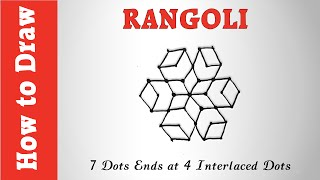 How to Draw Rangoli With 7 Dots Ends at 4 Interlaced Dots