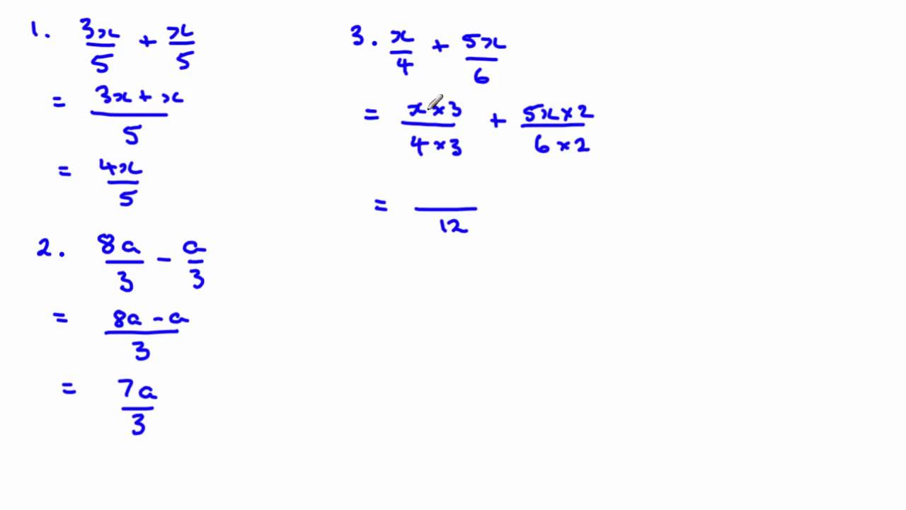 How To Add And Subtract Algebraic Fractions