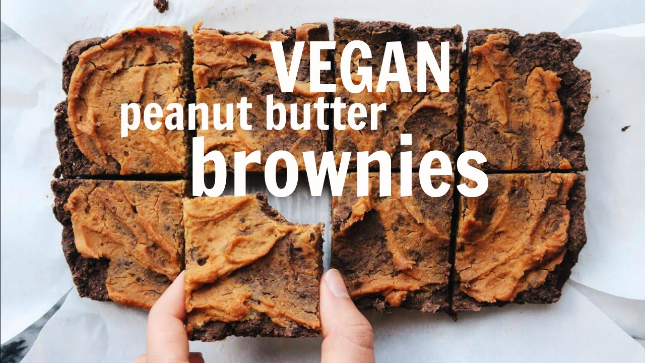 VEGAN Peanut Butter Brownies || Low Fat, Oil Free, Gluten Free Recipe