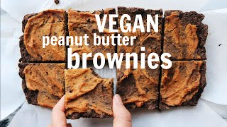 VEGAN Peanut Butter Brownies  Low Fat, Oil Free, Gluten Free Recipe